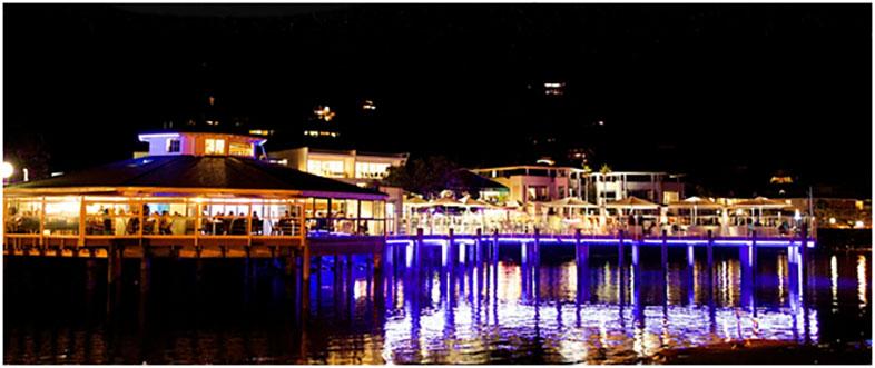 35 Degrees Restaurant illuminated at night