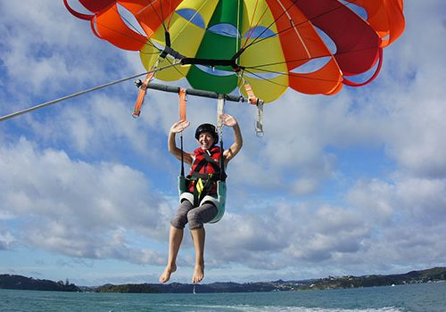 Woman Parasailing, Bay of Islands