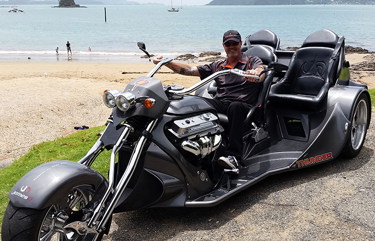 Tour guide on thunder trike in Paihia