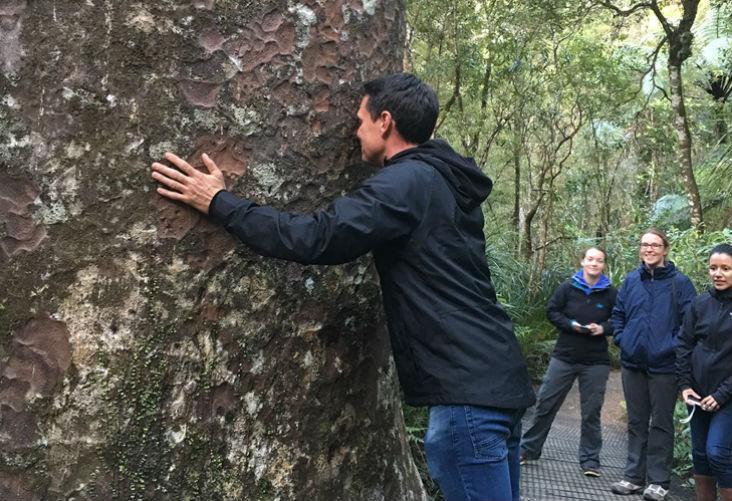 Jason Baker hongi with kauri