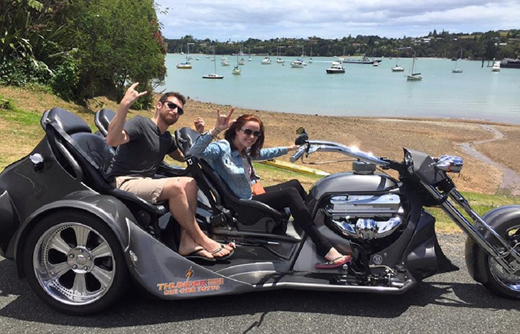 Jess and Mike on a Thunder trike adventure in Paihia