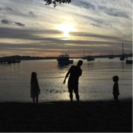 Skimming stones in Russell, Bay of Islands