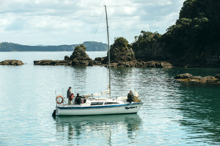 Yacht dropping anchor in bay of islands