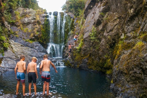 Swimming at Haruru Falls